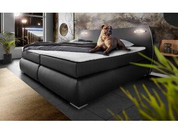 INOSIGN Boxspringbett »Black & White«, auch in Übergröße 200/220 cm, incl. LED Beleuchtung, bis zu 3 Härtegrade, Obermatratze bei 140 cm einteilig, schwarz