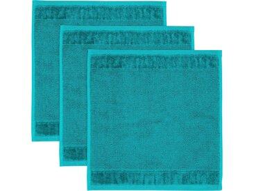 Möve Waschlappen »MÖVE Bamboo Luxe 3er Set Waschhandschuh« (3-tlg), mit seidig glänzenden Bordüren, blau, ocean