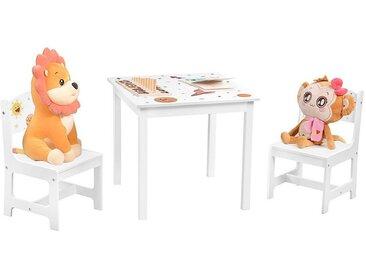 SONGMICS Kindersitzgruppe »GKR010W01«, (3-tlg), Kindertischgruppe süße Planeten Tisch mit 2 Stühlen 3-teilig weiß