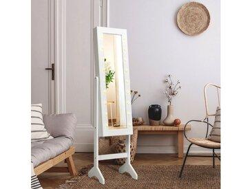 COSTWAY Schmuckschrank »18 LED-Schmuckregal Schmuck Spiegelschrank« neigungsverstellbar, mit Ganzkörperspiegel und kleinem Schminkspiegel, für Makeup