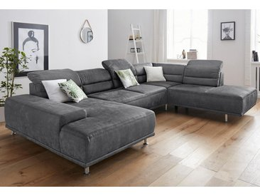 sit&more Wohnlandschaft, mit Federkern, inklusive Kopfteil- und Sitztiefenverstellung, grau, anthrazit