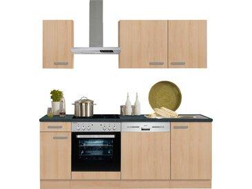 OPTIFIT Küchenzeile »Odense«, ohne E-Geräte, Breite 210 cm, mit 28 mm starker Arbeitsplatte, mit Gratis Besteckeinsatz, natur, buchefarben