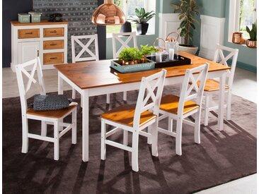 Home affaire Essgruppe »Marta«, (Set, 7-tlg), mit großem Tisch, weiß, weiß-honig