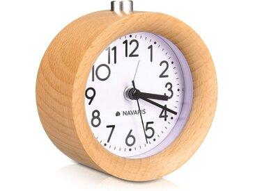Navaris Reisewecker Analog Holz Wecker mit Snooze - Retro Uhr mit Ziffernblatt Alarm Licht - Leise Vintage Wood Tischuhr ohne Ticken - Naturholz
