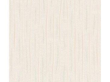 living walls Vliestapete »Flavour«, einfarbig, uni, mit Glitzereffekt, weiß, silberfarben-weiß