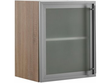 OPTIFIT Glashängeschrank mit Glasrahmentür in Alu-Optik, Breite 50 cm, grau, alu/eichefarben-trüffel