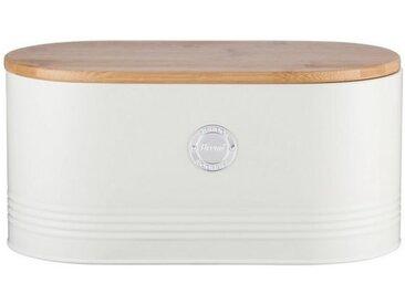 Typhoon Aufbewahrungsdose, stillvolles Design, aus Karbonstahl, mit Bambusdeckel, weiß, Brot, pastellcreme