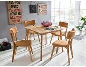 expendio Essgruppe »Thiago«, (Spar-Set, 3-tlg), Massivholztisch Eiche natur 90x90 cm + Stühle Norina 32 Masada orange, 3 tlg. - mit 2x Stuhl