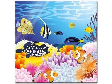 Bilderdepot24 Glasbild, Glasbild - Kinderbild - Leben im Meer - Cartoon