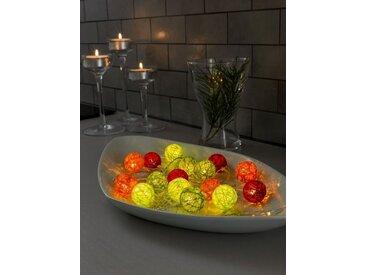 KONSTSMIDE LED Dekolichterkette, Baumwollkugeln, klein, bunt, Lichtquelle warm-weiß, Bunt