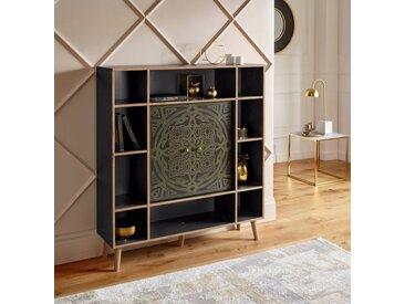 """Leonique Highboard »Clivia«, Highboard """"Clivia"""", mit dekorativem Print auf den Türen, Breite 119 cm"""