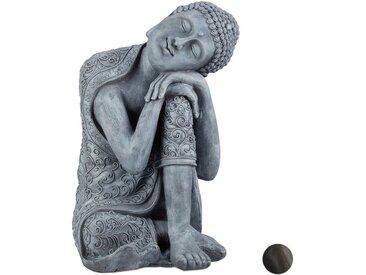 relaxdays Buddhafigur »Buddha Figur geneigter Kopf 60cm«, grau, Grau