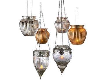 heine home Hängeampel Windlicht, grau, antiksilber/transparent