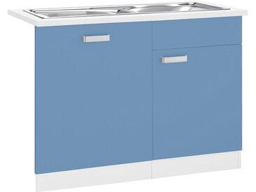 wiho Küchen Spülenschrank »Husum« 110 cm breit, inkl. Tür/Sockel für Geschirrspüler, blau, himmelblau/weiß