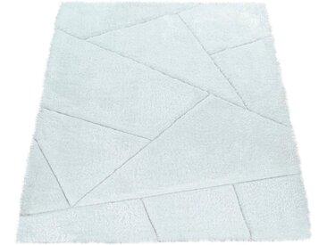 Paco Home Hochflor-Teppich »Palma 334«, rechteckig, Höhe 45 mm, Hochflor-Shaggy mit 3D-Muster, weiß, weiß