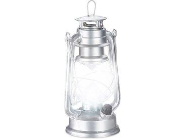 relaxdays LED Laterne »Sturmlaterne LED«, silberfarben, Silber
