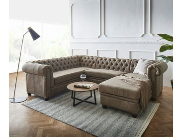DELIFE Wohnlandschaft »Chesterfield«, 266 cm Taupe Abgesteppt Ottomane Rechts, grau, Taupe