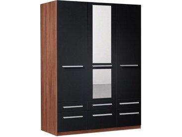 priess Drehtürenschrank »Barcelona«, schwarz, Schubladen: 6 - Türen: 3 - mit Spiegel, ohne Beleuchtung, nussbaumfarben/schwarz