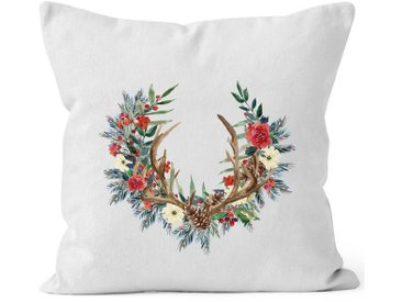 Autiga Dekokissen »Kissenbezug Weihnachten Weihnachtskranz Geweih Hirschgeweih Blumen Gesteck Kranz Misteln ®«, weiß, weiß