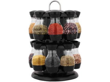 COSTWAY Gewürzregal »Gewürzkarussell Gewürzebehälter Gewürzständer Kücheregal«, drehbar, aus ABS, Schwarz, inkl. 16 Gewürzdosen
