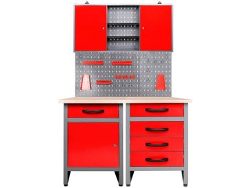 ONDIS24 Werkstatt-Set 120 cm, rot, 85 cm, anthrazit/rot