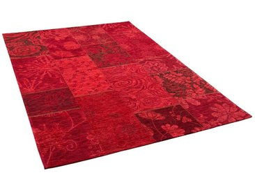 Pergamon Designteppich »Luxus Vintage Designerteppich Patchwork Rot«, Rechteckig, Höhe 5 mm