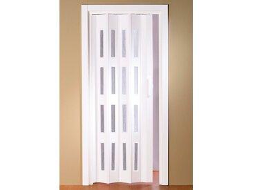 Kunststoff-Falttür »Luciana«, BxH: bis 88,5x202 cm, kürzbar, Fenster mit Riffelstruktur, weiß, 88.5 cm, weiß