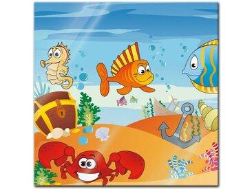 Bilderdepot24 Glasbild, Glasbild - Kinderbild Unterwasser Tiere VII