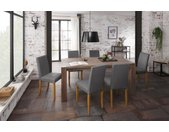 Home affaire Essgruppe »Livara«, (Set, 7-tlg), bestehend aus 6 Lucca Stühlen und dem Mary Esstisch, grau, Grauer Stuhlbezug