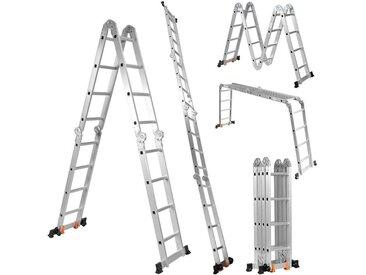 COSTWAY Trittleiter »Mehrzweckleiter Haushaltsleiter«, Teleskopleiter, Verlängerungsleiter, Belastbarkeit 150 kg, silberfarben, Aluminium, silber