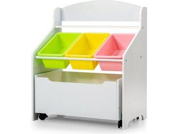 COSTWAY Organizer »Spielzeugregal Aufbewahrungsboxen Spielzeugschrank Kinderregal«, mit rollbarem Fach, 3 kleinen und Ablage, weiß, Weiß
