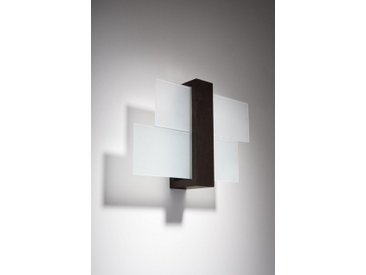 Licht-Erlebnisse Wandleuchte »LEDA Wandlampe Modern Holz Glas Braun H:30cm E27 Kunstvoll Flur Treppe«