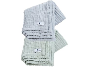 Nordic Coast Company Babydecke »4-in-1 Decke 2er Set Mint-Blau«, Premium: 4-fach gewebt