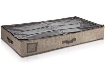Navaris Unterbettkommode, Unterbett Aufbewahrung aus Stoff 91x50x14cm - mit Sichtfenster groß flach - Bett Aufbewahrungsbox aus Polyestervlies, braun