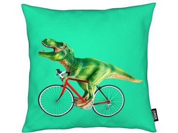 Juniqe Dekokissen »T-Rex Bike«, Weiches, allergikerfreundliches Material