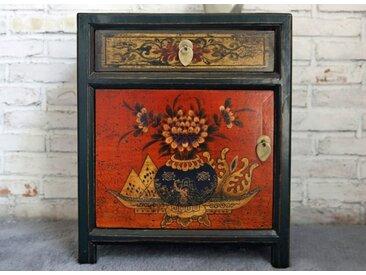 OPIUM OUTLET Nachtkommode »Chinesisches Nachtkästchen Vintage-Stil«, Asiatischer Nachttisch orientalischer Nachtschrank Nachtschränkchen Kästchen, Shabby Vintage, Breite 45 cm, Höhe 55 cm, bunt