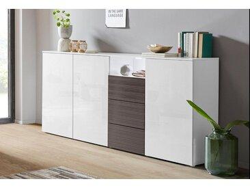 borchardt Möbel Highboard »Savannah«, Breite 200 cm, grau, weiß-HG-graphit-Riffel-MDF-Hochglanz