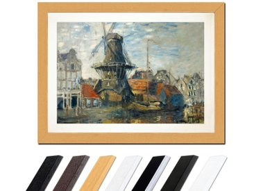 Bilderdepot24 Wandbild, Claude Monet - Windmühle am Onbekende Kanal, Amsterdam, bunt, Buche