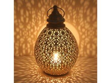 Casa Moro Laterne »Orientalische Laterne Omnia M in Shabby Chic Weiß Gold Höhe 36cm aus Metall, Marokkanisches Windlicht, hängend & stehend