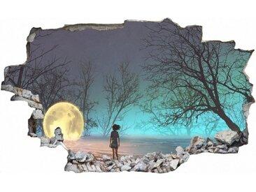 DesFoli Wandtattoo »Mystischer Wald Mond Kind Leuchtkugel C2360«