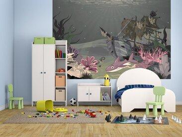 Bilderdepot24 Deco-Panel, selbstklebende Fototapete - Kinderbild - Hai mit Schiffswrack, bunt, Vintage