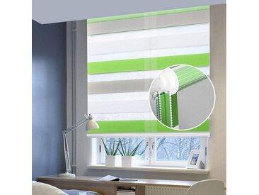 EUGAD Doppelrollo, Seitenzugrollo ohne Bohren Klemmfix im Festmaß, Lichtschutz, 1 Stück weiß-grün-grau, weiß-grün-grau