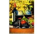 Artland Glasbild »Gläser Rotwein auf altem Fass«, Getränke (1 Stück), grün