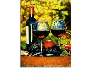 Artland Glasbild »Gläser Rotwein auf altem Fass«, Getränke (1 Stück)
