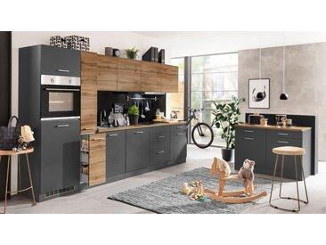 HELD MÖBEL Küchenzeile »Kehl«, mit E-Geräten, Breite 330 cm, grau, mit Induktionskochfeld, grau/wotaneiche