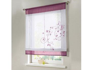 i@home Raffrollo »Bestickt Raffgardine Vorhang Gardine Fenstervorhang Scheibengardinen«, mit Schlaufen, rot, Weinrot