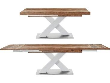 Esstisch »Komfort C«, mit X-Gestell in weiß und mit Auszugsfunktion, Breite 160-260 cm, weiß, weiß-plankeneichefarben