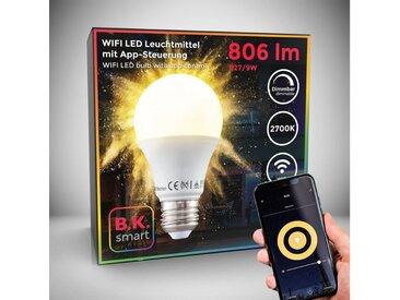 B.K.Licht LED-Leuchtmittel, E27, 1 Stück, Warmweiß, App- Sprachsteuerung I Alexa Google Home I iOS & Android I WLAN Glühbirne I Smartes Leuchtmittel