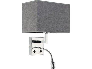 Licht-Erlebnisse Wandleuchte »HOTEL LED Wandleuchte Grau Stoff Chrom Leselampe Schlafzimmer Wohnzimmer Lampe«
