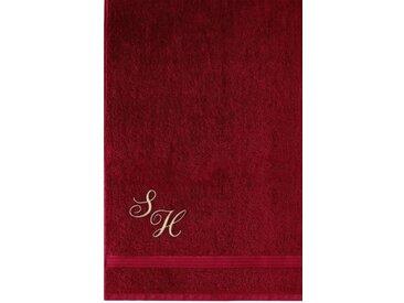 Lashuma Saunatuch »Linz« (1-St), Besticktes Badehandtuch 70x200 cm, Handtuch Frottee mit Monogramm, rot, rubinrot